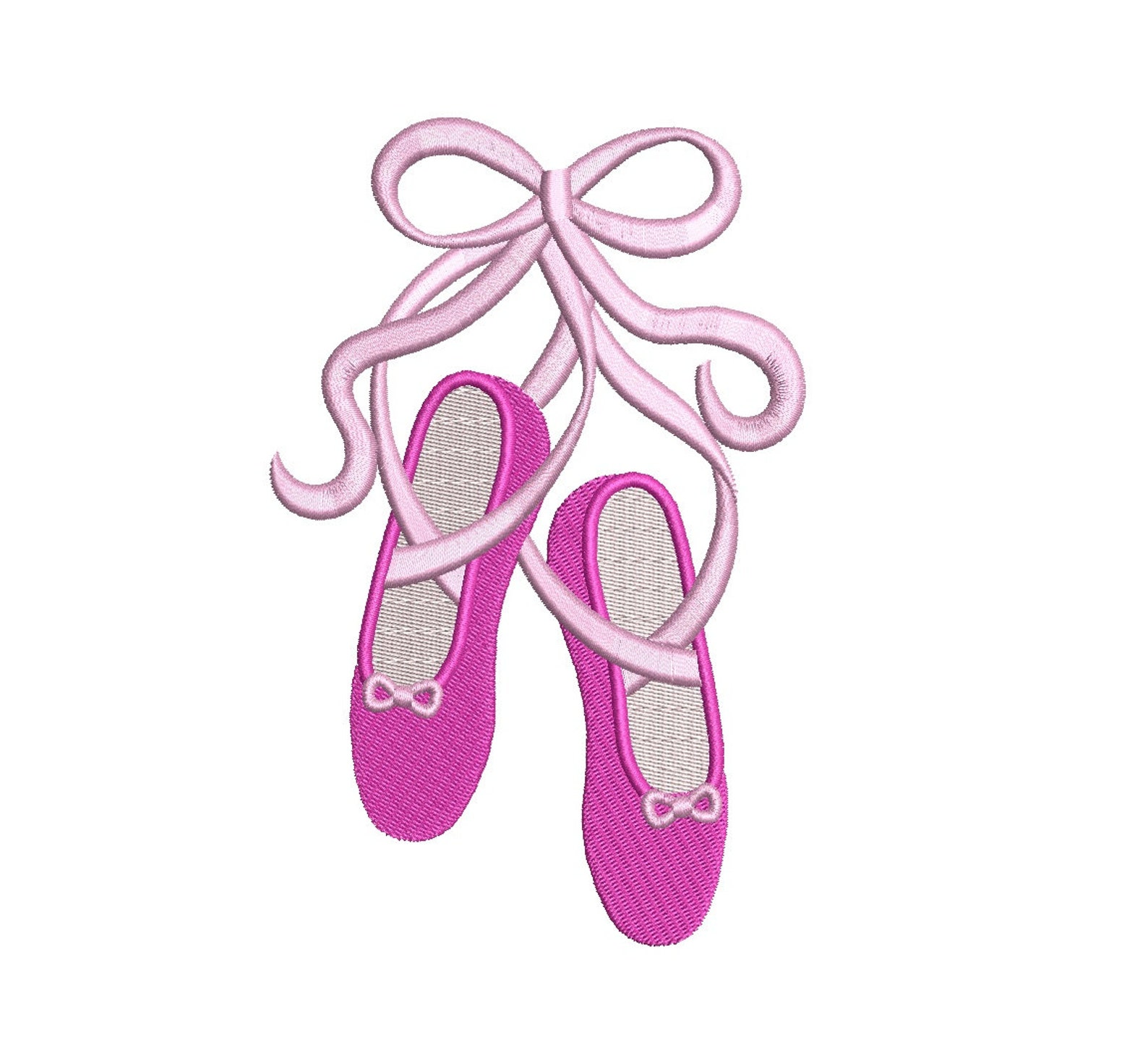 ballet shoes with ribbons machine embroidery filled digitized design pattern - instant download- 4x4 , 5x7, 6x10