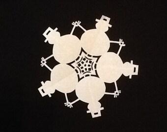 Paper Snowman Snowflake Hand Cut