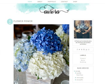 "Blogger Template Premade Blog Design - Premade Blogger Theme Blue blog template - Watercolor Blogger Template - ""AURORA"""
