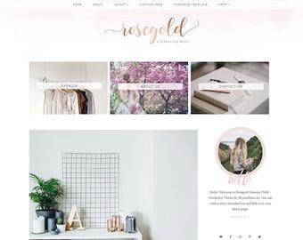 Rosegold Watercolor Wordpress Theme for Genesis Framework - WooCommerce Shop Theme - Wordpress WooCommerce Theme - Genesis Child Theme