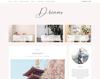 Wordpress Theme Blog & Genesis Child Theme, Wordpress Template, Feminine Wordpress Theme, Pink Wordpress Blog Theme - DREAMS