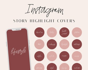 232 Instagram Story Highlight Icons, Calligraphy Highlight Covers, Handwritten Highlights Stories, Earth Color Instagram Covers