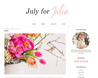 Premade Blogger Template Responsive blogger template - Girly and Cute Blog Theme - Pink Blogger theme // JULIA