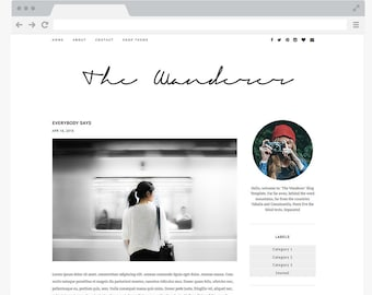 premade blogger template simple and clean blog design etsy