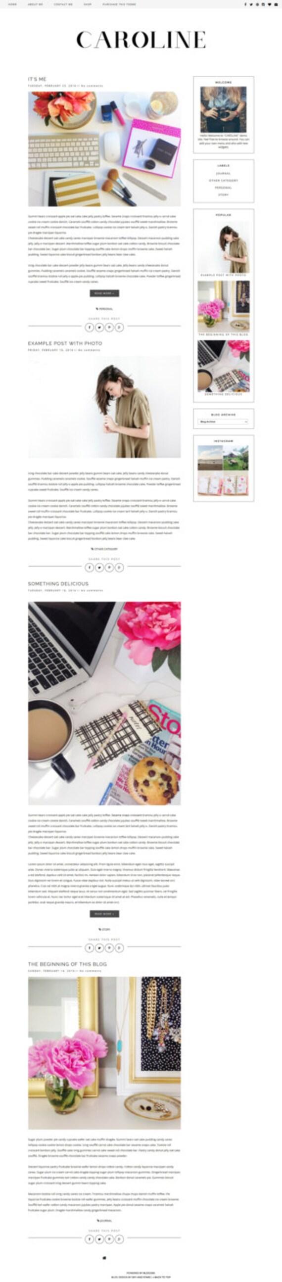 NEUE vorgefertigte Blogger Template sauber-Blog-Design | Etsy