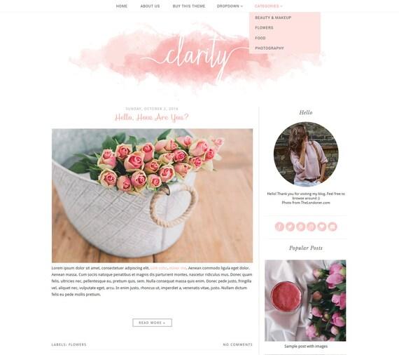 Vorgefertigte Blogger-Template einfache und saubere | Etsy