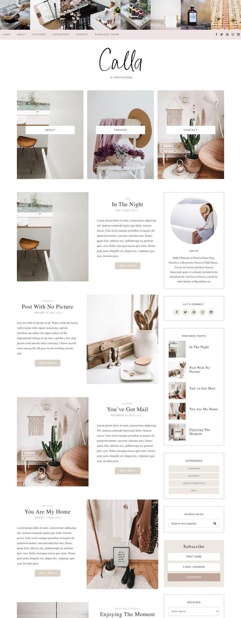 Pastel Feminine Wordpress theme  Pink Wordpress Template  image 0