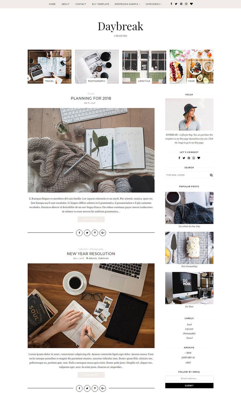 Premade Blogger Template  Responsive Mobile Blogger Template image 0