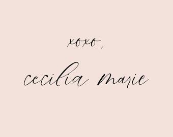 Blog signature, Post signature, Email signature, Handwritten logo, wordpress signature, blogger signature - Cecilia
