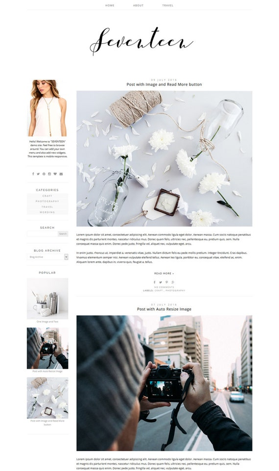 Blogger-Vorlage Fotografie-Blog-Design breit-Blog-Layout | Etsy