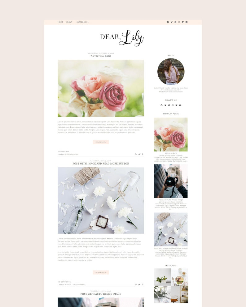 SALE  Pink Blogger Template  Premade Blogger Template  image 0