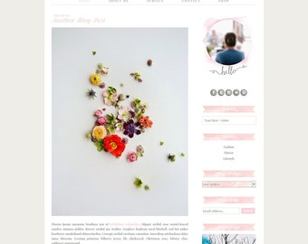 Premade Blogger Template - Pink Blog Design - Pastel Blog Template -  Watercolor Blog Template - Blogger Template Misty