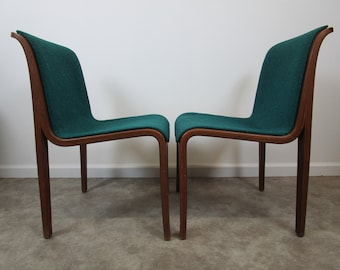 Mid Century Pair Of Teal Green Knoll Bent Wood Office Chairs 1976