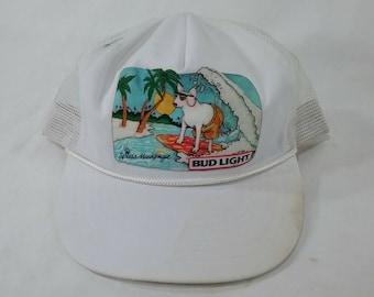 e8390c69a39 Vintage bud light spuds MacKenzie surfing beer truckers cap hat retro  snapback mesh white