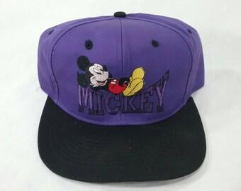 71a802152cc Vintage unused mickey mouse Disney snapback truckers cap hat purple Disney