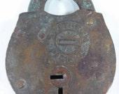 Rare Vintage brass southern Pacific railroad padlock train switch lock no key