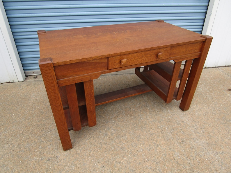 Awe Inspiring Antique Mission Oak Stickley Style Library Table Desk Download Free Architecture Designs Scobabritishbridgeorg