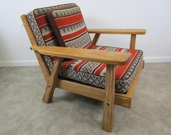 Vintage Ranch Oak lounge chair mid century south western retro