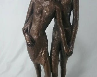 """Large 25"""" Mid century marwal ceramic statute of young lovers man and woman chalkware retro vintage decor"""