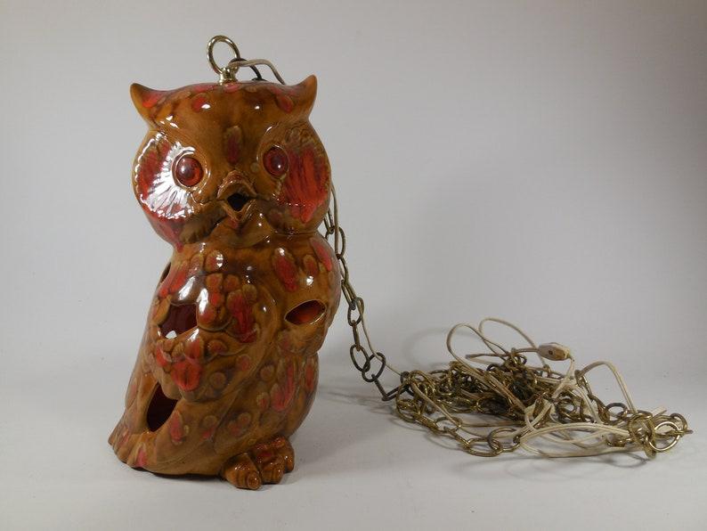 Mid Century Hanging Swag Owl Lamp Eyes Light Up