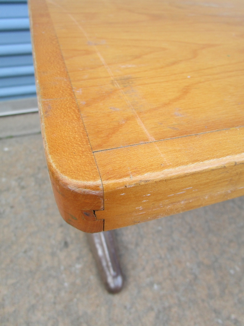 Vintage childrens school table with wood top