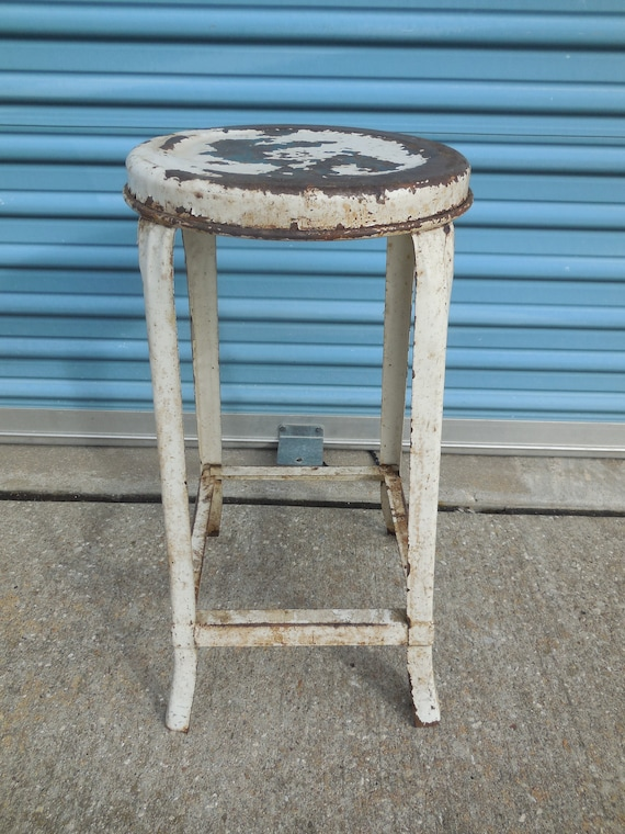 Phenomenal Vintage Round Top Metal 2 Feet Tall Stool Ocoug Best Dining Table And Chair Ideas Images Ocougorg