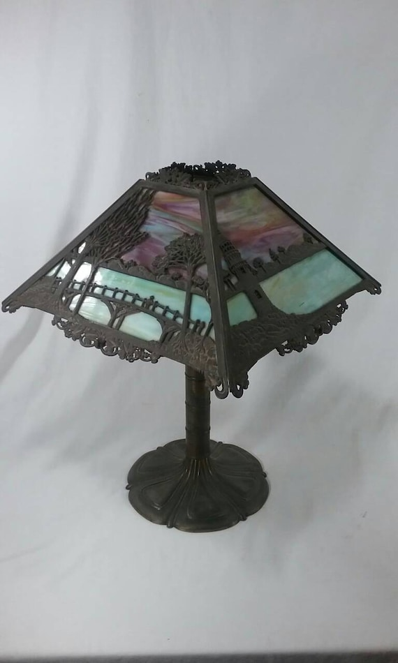 Antique Bradley Hubbard Slag Glass Table Lamp Lighthouse And Etsy