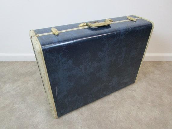 Vintage dark blue samsonite marble suitcase