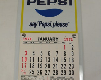 Vintage pepsi cola calender sign 1971 Say pepsi please soda pop