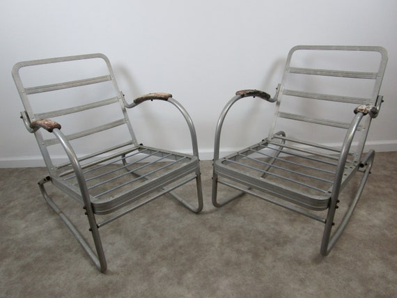 Astounding Vintage Bunting Aluminum Outdoor Chair Pair Rocking And Stationary Patio Furniture Alphanode Cool Chair Designs And Ideas Alphanodeonline
