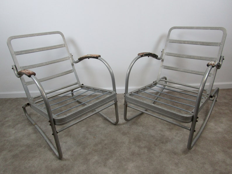 Vintage Bunting Aluminum Outdoor Chair Pair Rocking And Etsy