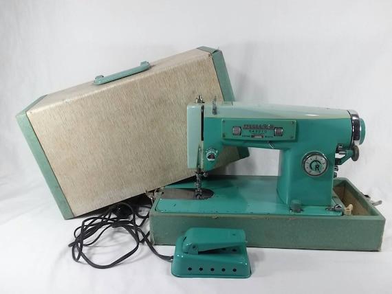 Vintage White Portable Zigzag Sewing Machine Model 40 Retro Etsy Amazing Zig Zag Sewing Machine