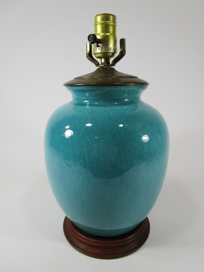 Vintage turquoise green blue mid century table lamp Sallys Lamps Long Beach  California