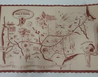 1 Vintage Santa fe railroad dining car place mat Fred Harvey chico train map