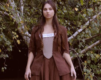 Ready to ship 18th century brown jacket in linen, size L-XL  - Caraco Colonial Historical Costume Reenactment Rococo Living History