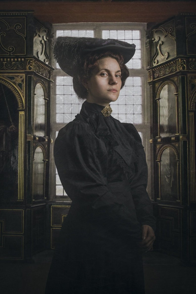 The Mourning Collection: black blouse with back fastening, choose size and  fabric - Victorian 19th century historical costume reenactment