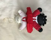 Vintage Topsy Turvy White and Black Rag Doll Child Ornament Saks Fifth Avenue
