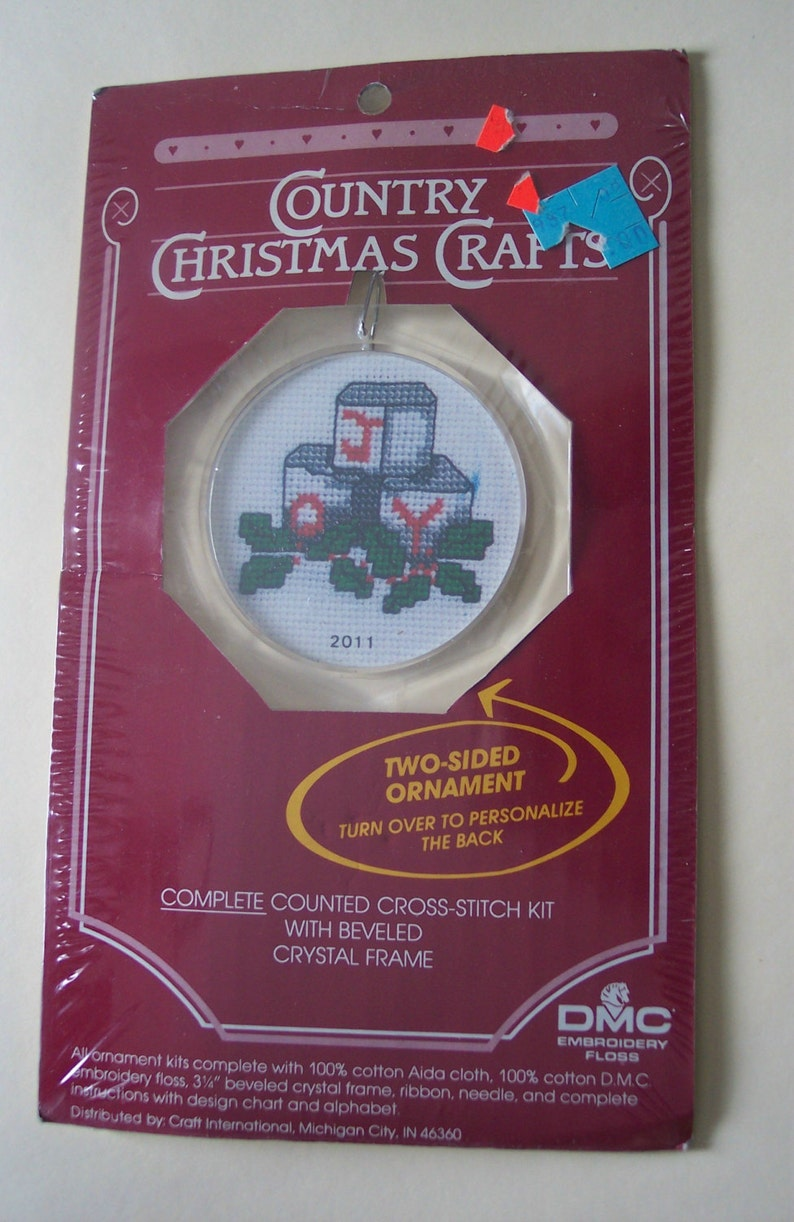 Country Christmas Joy Holly Cross Stitch Kit with Frame by Craft International 2011