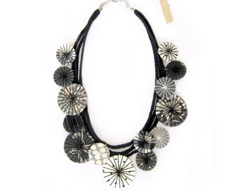 Statement Fabric Necklace Black White Necklace Textile Necklace Statement Jewelry Fabric Jewelry Unique Gift for Her