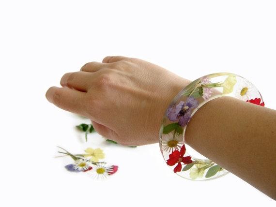 Real Flower Bracelet Resin Bracelet Bangle Bracelet Flower Pressed Jewelry preserved flower bracelet  resin jewelry  gift