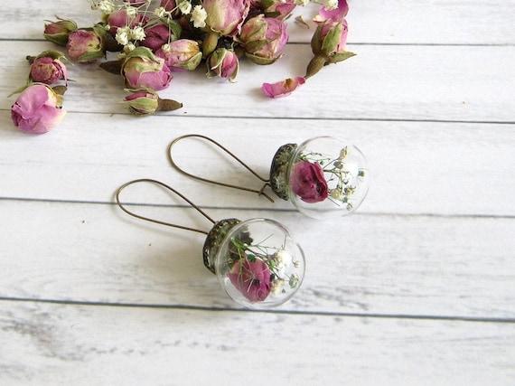 Bridesmaid Gift Wedding Jewelry Rose Dangle Earrings Glass ball Earrings Dried Flower Terrarium Earrings Real Flower Jewelry