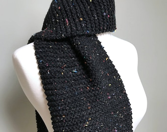 Knitted Scarf / Handmade Scarf / Comfy Scarf / Black Scarf / Long Scarf / Winter Scarf / Mens Scarves / Women Scarves / Warm Scarf / Scarves