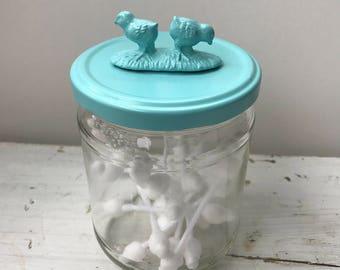 Pot animal Topper / recyclé bocal en verre / issus de pot / Animal pots / poulets / rangement / stockage de bébé / décoré pot / recyclés Jar
