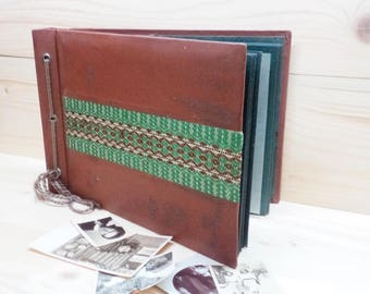 Vintage Photo Album Brown Leatherette with Embroidery Photo Album Retro USSR Photo Album Distressed Album Soviet Era 70's Family Gift
