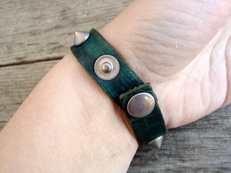 Vintage Green Leather Studded Bracelet Hippie Bracelet 1970s Tooled Leather Cuff Green Leather Cuff Bracelet