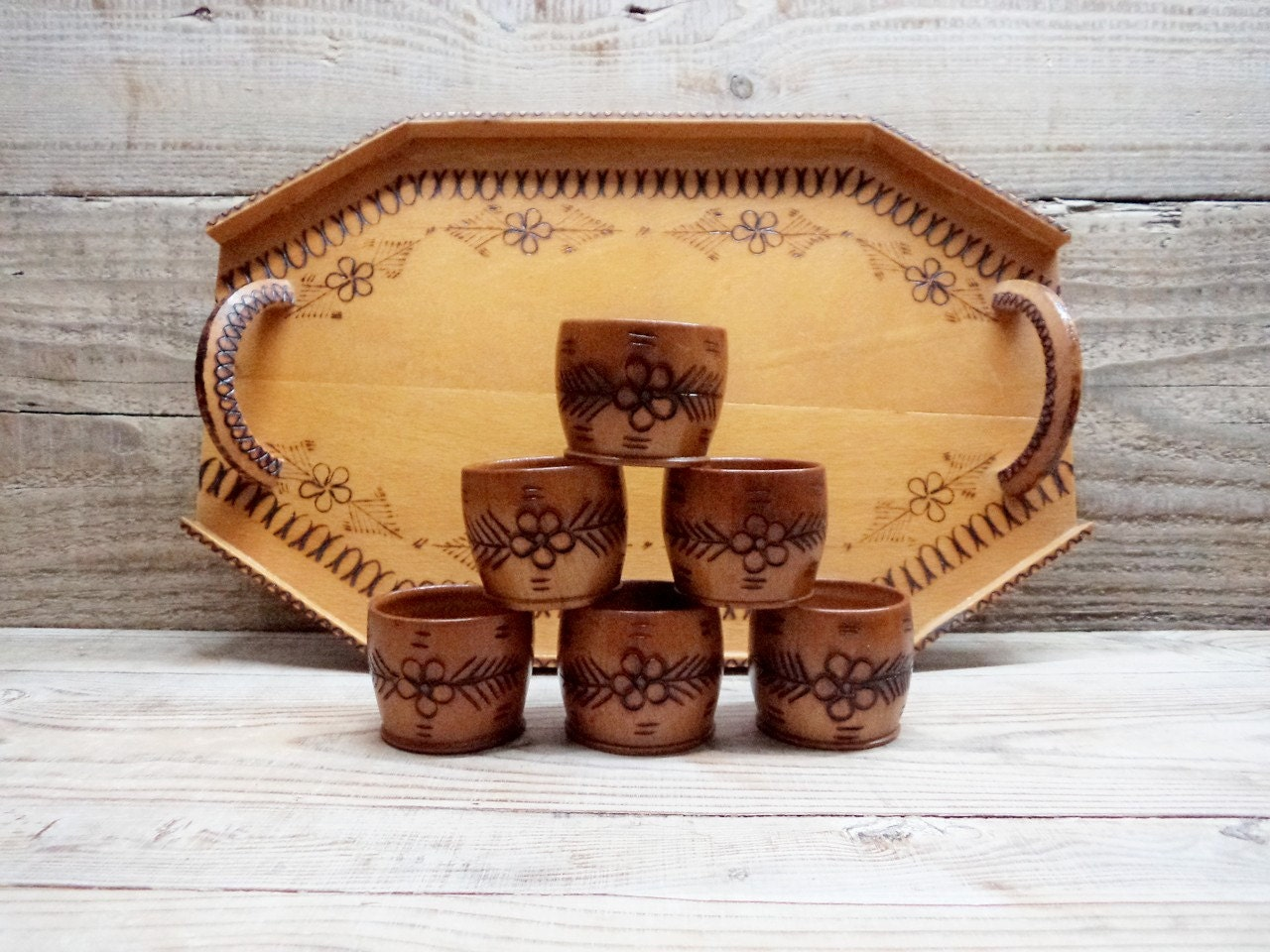 Vintage Wooden Cups With Tray Set Of Six Shot Cups Wooden Tray