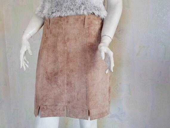 4024384fd729d Jupe en daim Vintage jupe jupe en daim véritable Beige   Etsy