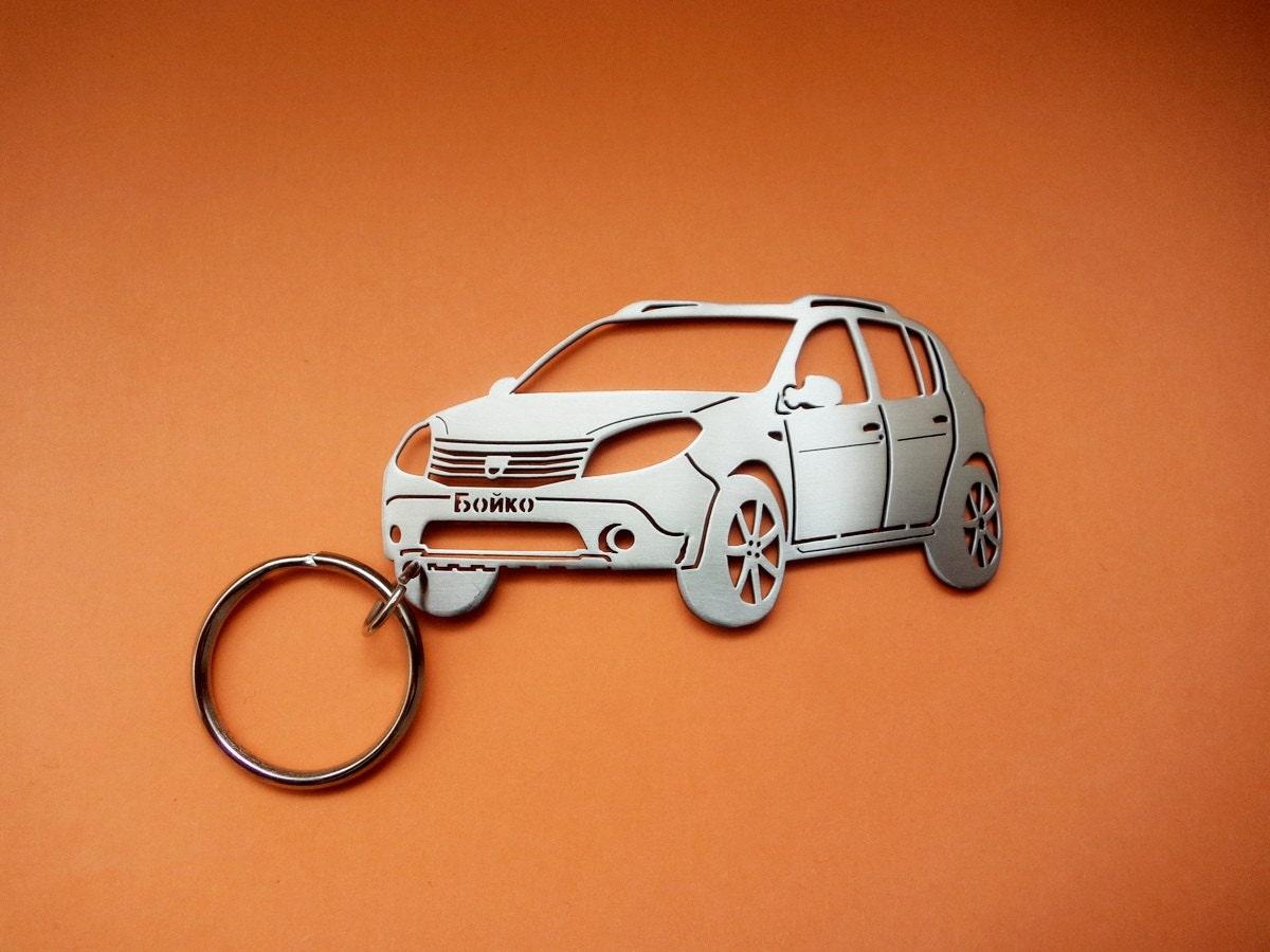 Handmade Laser Cut Gift Dacia Duster Badge Luxury Leather Keyring