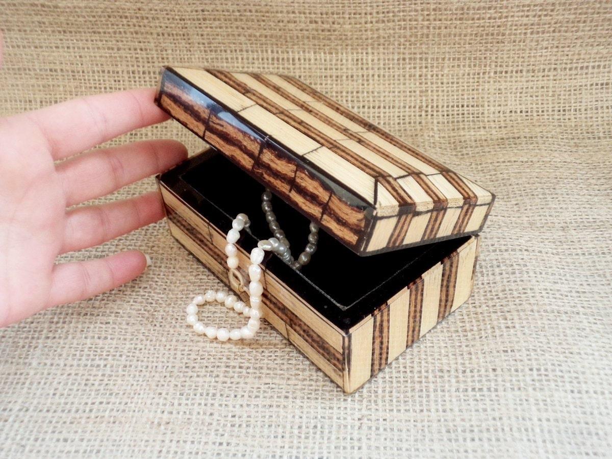 Sugar Cane Coco Twig Deco Box Vintage Jewelry Box From Philippines