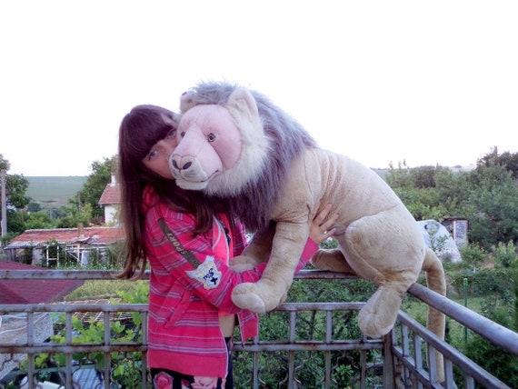 Vintage Huge Lion Plush Toy Big Plush Stuffed Lion 80 S Etsy